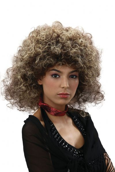 Adults Big Hair 2-Tone 80s Wig 80s Disco Pop Retro Fancy Dress